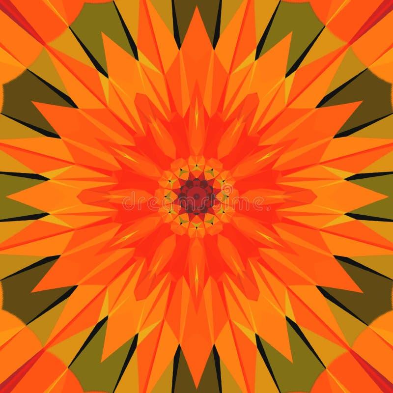 Mandala orange lumineux coloré d'ornement brillant illustration de vecteur
