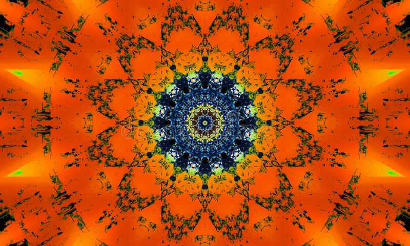 Mandala with orange luminous effects. Colorful mandala with orange luminous effects and a dark blue core stock illustration