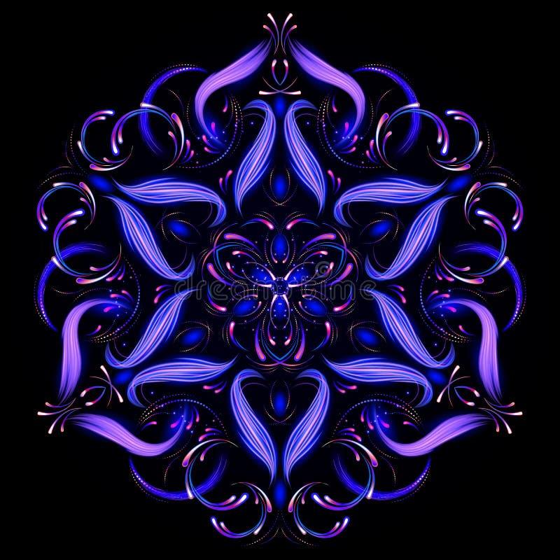 Mandala oriental abstrait Belle fractale abstraite Vecteur oriental, modèles de thérapie d'Anti-effort Calibre de yoga illustration stock