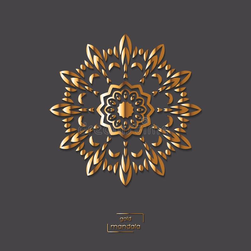 Mandala oriental da flor decorativa do ouro no fundo cinzento da cor ilustração do vetor
