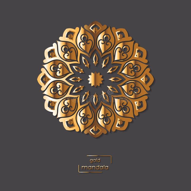 Mandala oriental de la flor ornamental del oro en fondo gris del color stock de ilustración
