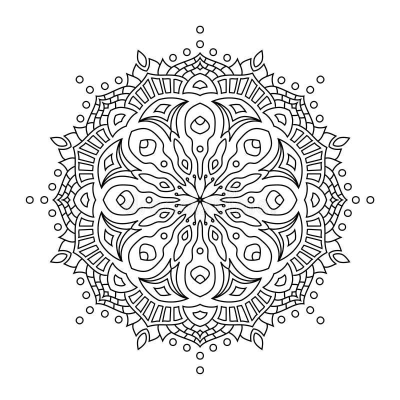 Mandala oriental de style, modèle indien, illustration de vecteur images stock