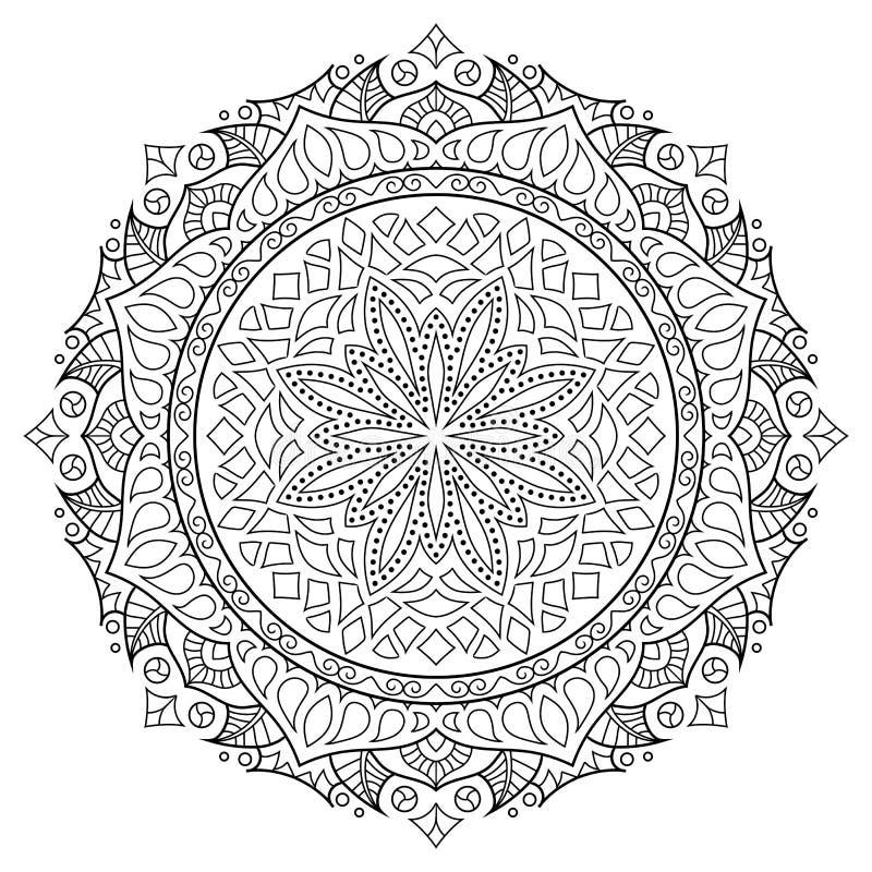 Mandala oriental do estilo, teste padrão indiano, ilustração do vetor fotos de stock