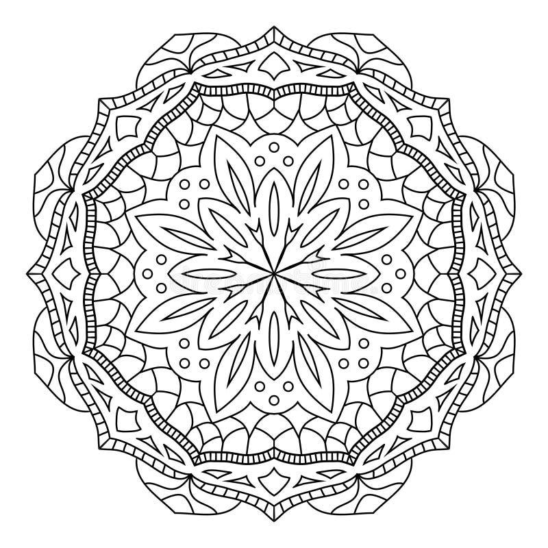 Mandala oriental do estilo, teste padrão indiano, ilustração do vetor imagens de stock