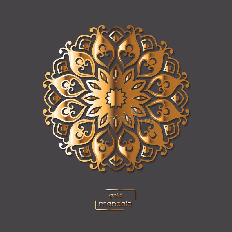 Mandala orientale del fiore ornamentale dell'oro sul fondo grigio di colore illustrazione vettoriale
