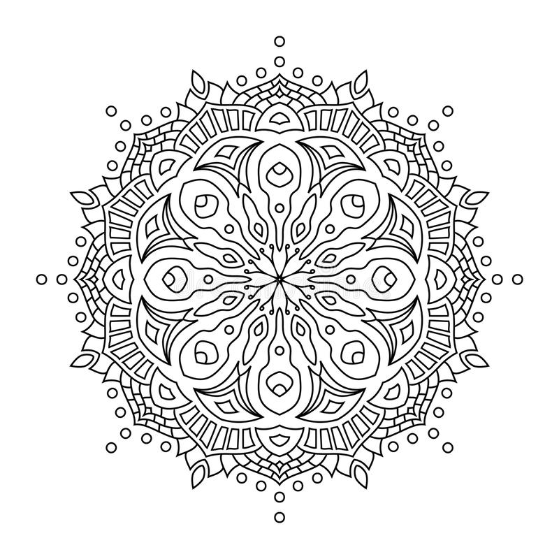 Mandala orientale di stile, modello indiano, illustrazione di vettore immagini stock