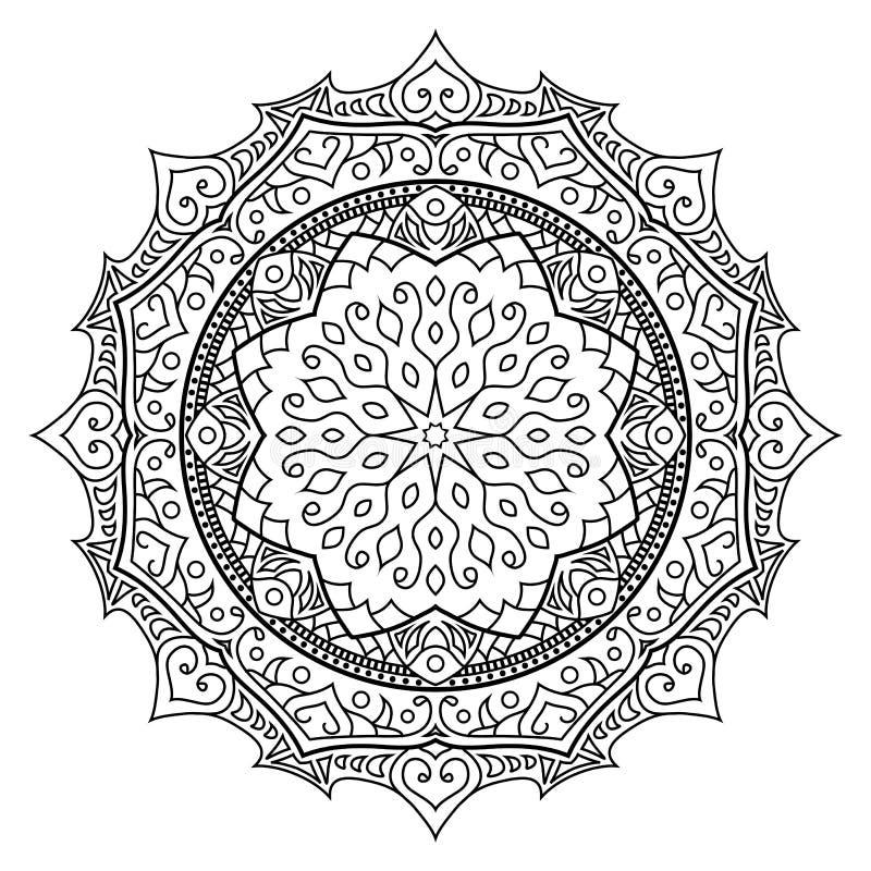Mandala orientale di stile, modello indiano, illustrazione di vettore fotografie stock libere da diritti