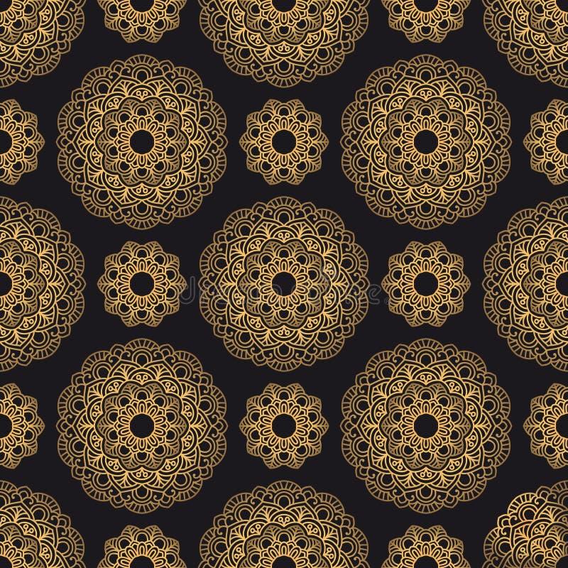 Mandala orientalny wektorowy bezszwowy wzór Luksusowy ozdobny tło ilustracja wektor