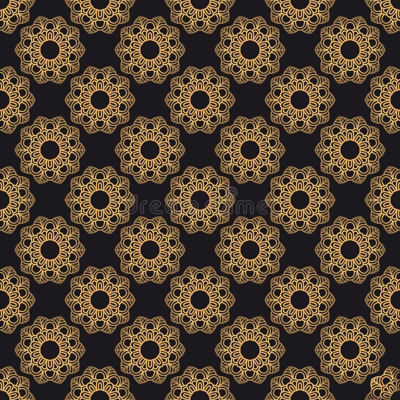 Mandala orientalny wektorowy bezszwowy wzór Luksusowy ozdobny tło ilustracji