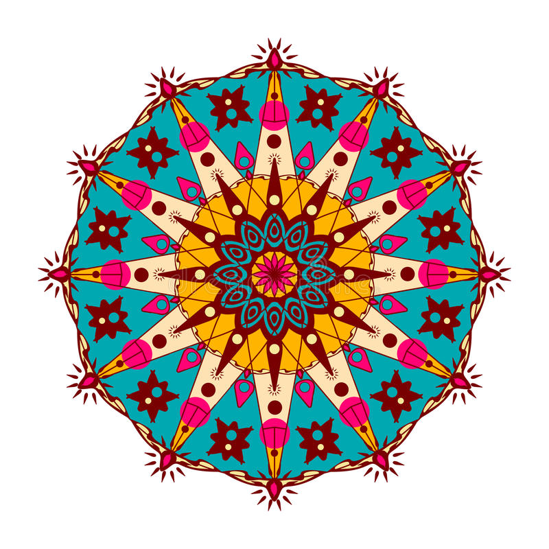 Mandala ornamentado, oriental Vector em volta do ornamento colorido em tons brilhantes isolado em um fundo branco ilustração do vetor