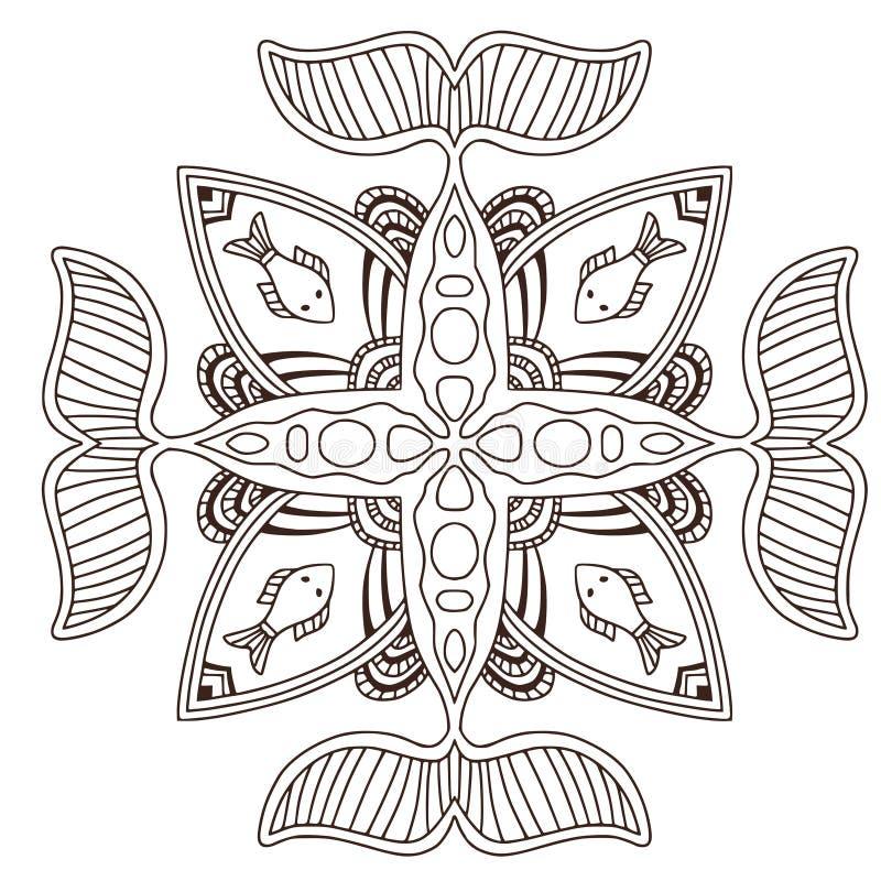 Mandala ornamental del océano con los pescados Diseño del arte del tatuaje Modelo del ornamento de la alfombra Vector para la pág libre illustration