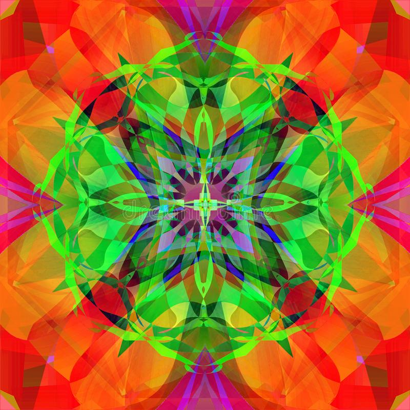 MANDALA. ORNAMENTAL DESIGN. CENTRAL IMAGE IN GREEN, BLUE, RED AND PURPLE. ABSTRACT ORANGE AND RED BACKGROUND royalty free stock images