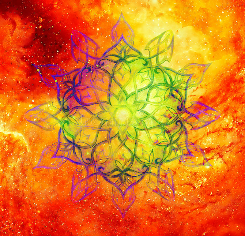 Mandala ornamental en el espacio cósmico, corazón Chakra libre illustration