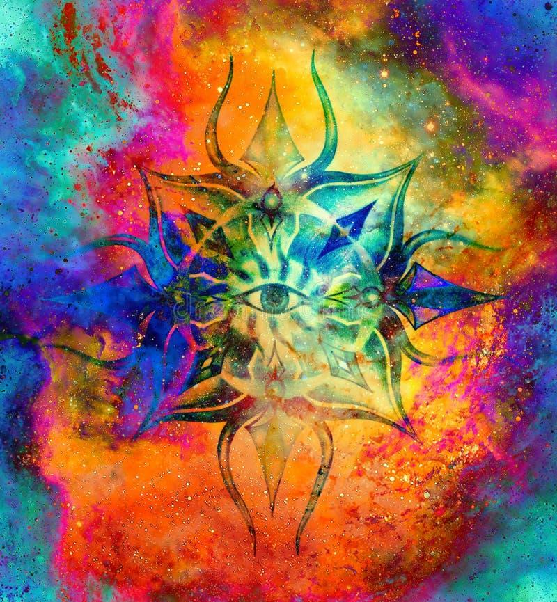 Mandala ornamentale nello spazio cosmico, terzo occhio Chakra royalty illustrazione gratis