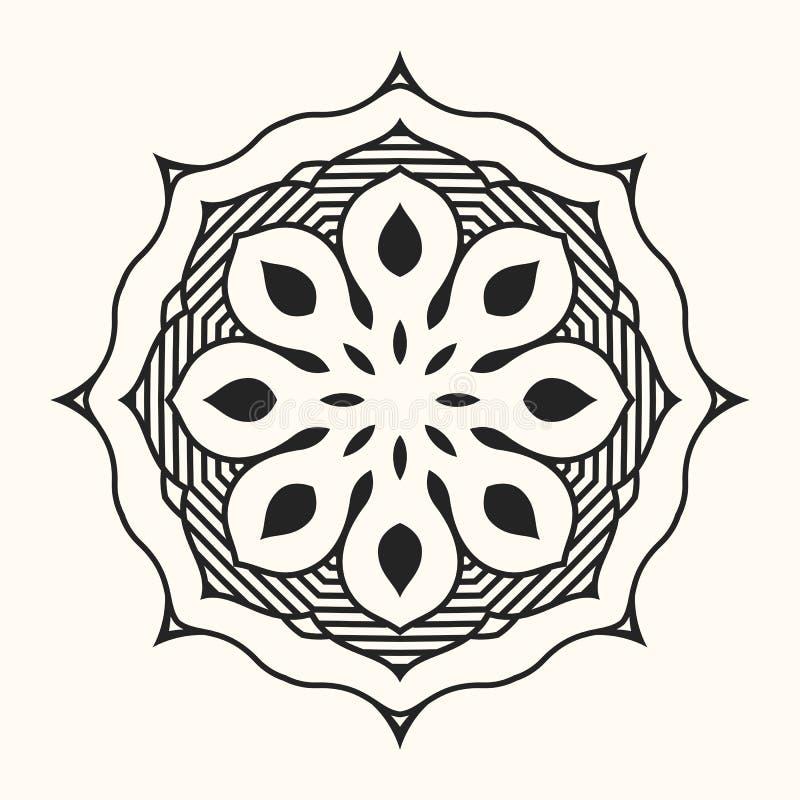 mandala Ornamento circular creativo Modelo simétrico redondo stock de ilustración