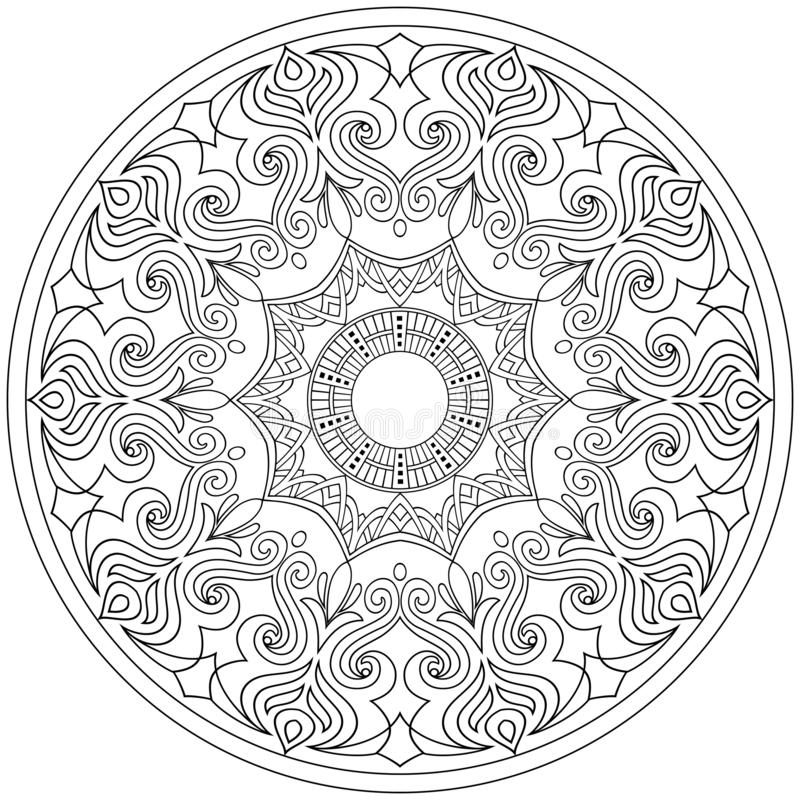mandala Ornamento del pizzo nello stile orientale Elementi decorativi dell'annata Illustrazione di vettore royalty illustrazione gratis