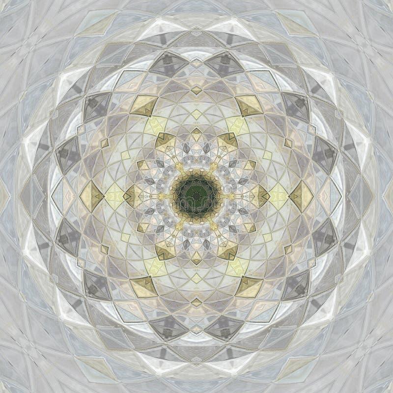 mandala Ornamento lineare rotondo di colore pastello grigio royalty illustrazione gratis