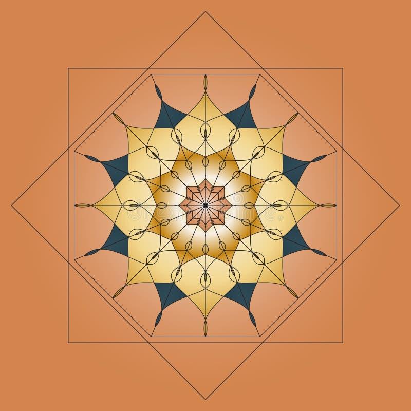 Mandala, ornamento redondo, elemento para o projeto no fundo bege fotografia de stock royalty free