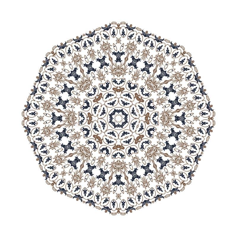 Mandala ornamentu t?o Round rocznika dekoracyjni elementy ilustracji