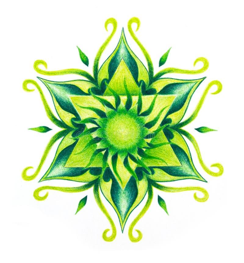 Mandala ornemental de couleur sur le fond de livre blanc Chakra de coeur illustration de vecteur