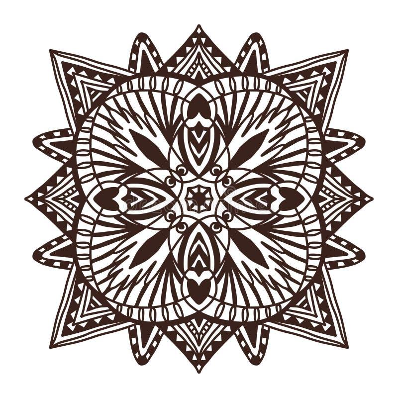 Mandala ornemental de tuile Conception d'art de tatouage Modèle d'ornement de tapis Page de livre de coloriage de vecteur Copie i illustration libre de droits