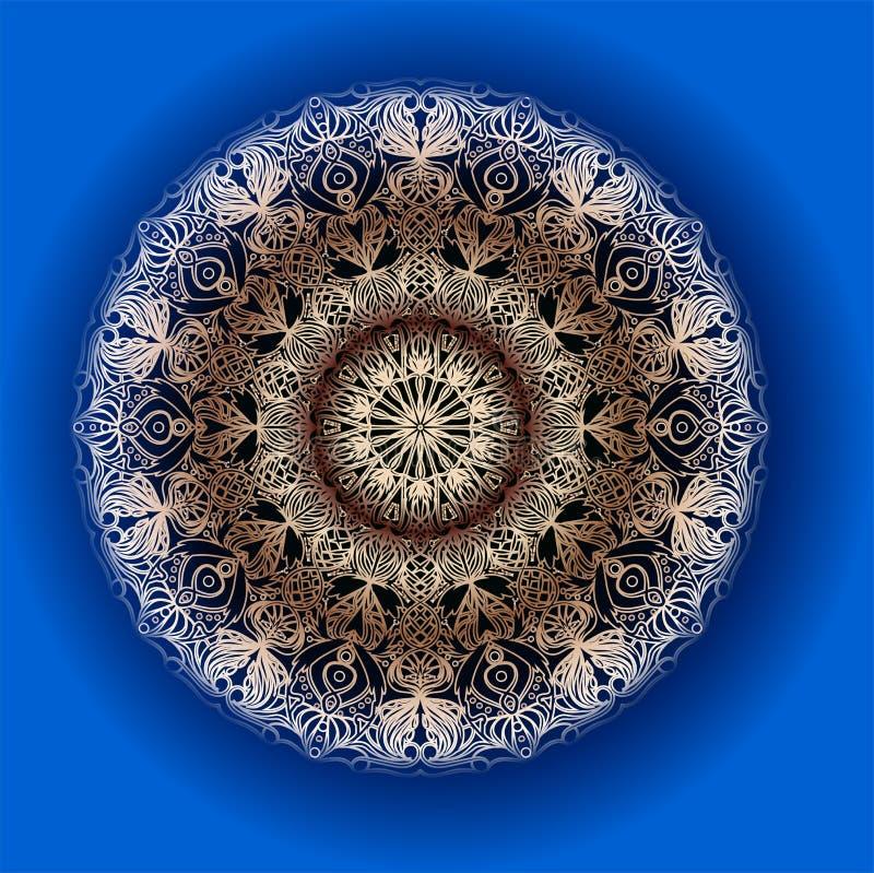 Mandala på blått Rund arabisk design vektor illustrationer