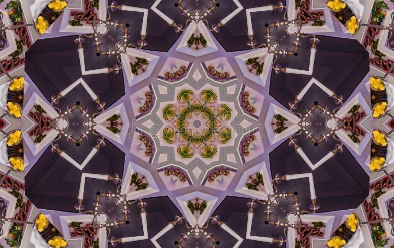 Mandala púrpura del centro de la flor del aciano foto de archivo