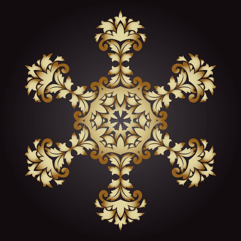 Mandala płatek śniegu złoto, plemienny rocznika tło z medalionem royalty ilustracja