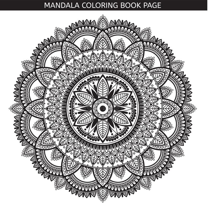 mandala P?gina do livro para colorir Medalh?o antistress indiano Fundo branco, esbo?o preto fotografia de stock royalty free