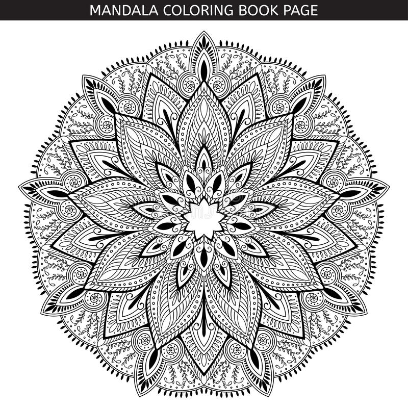 mandala Pages de livre de coloriage Médaillon antistress indien Fond blanc, contour noir Illustration de vecteur illustration de vecteur