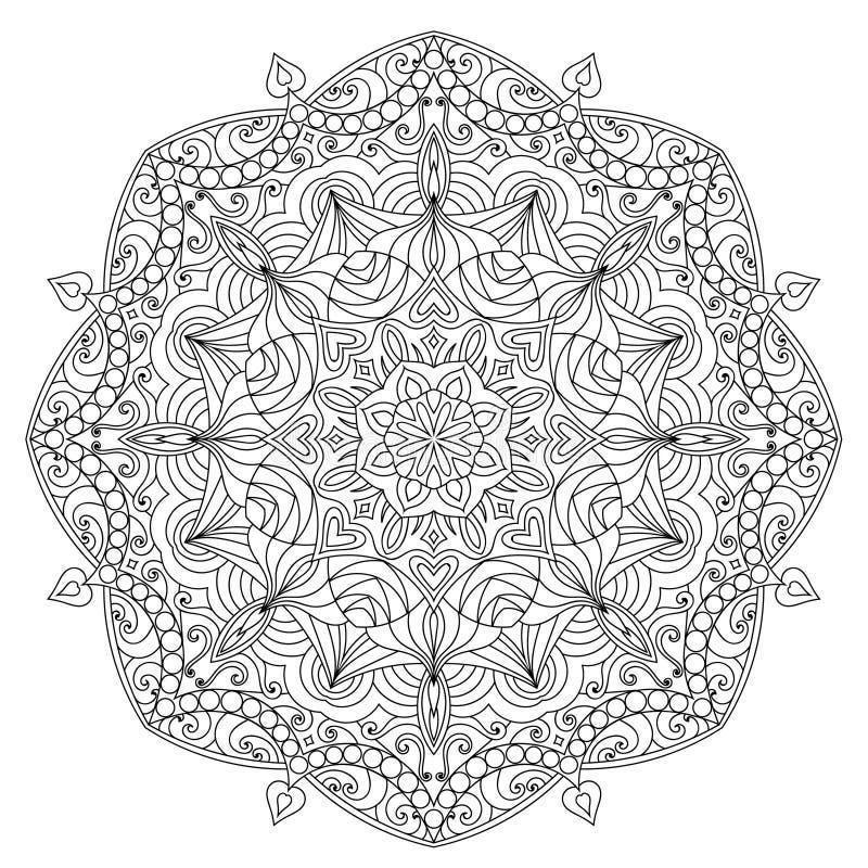 Mandala para la página del libro de colorear stock de ilustración