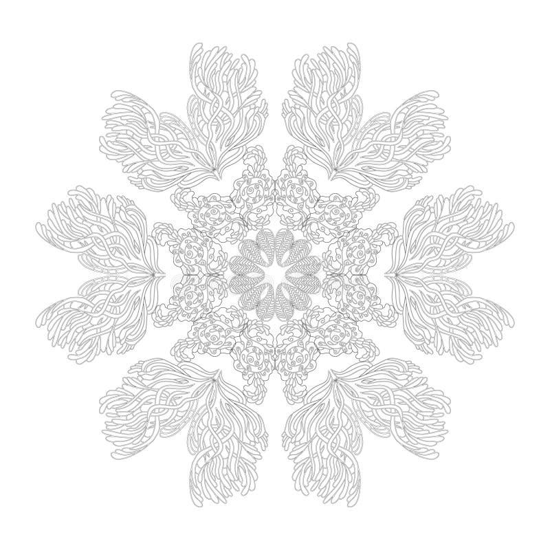 Mandala para la página del libro de colorear Ornamento redondo decorativo del extracto Arte antiesfuerzo para los adultos Element stock de ilustración
