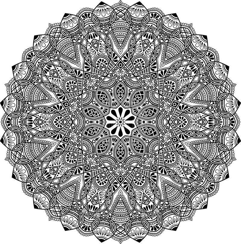 Mandala pattern black and white. Good mood vector illustration