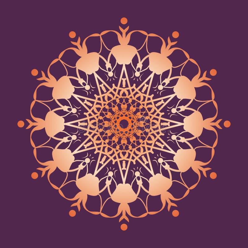 Mandala Pattern Bloemen rond decoratief symbool Uitstekende decoratieve elementen royalty-vrije illustratie