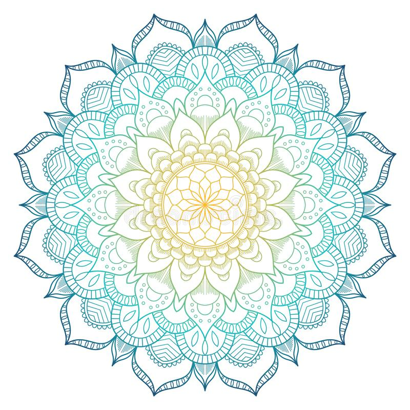 Mandala pattern colored background. Vector illustration. Meditation element for India yoga. Ornament for decorating a stock photography