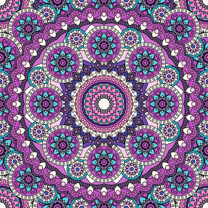 Mandala pattern colored seamless background. illustratio royalty free stock images