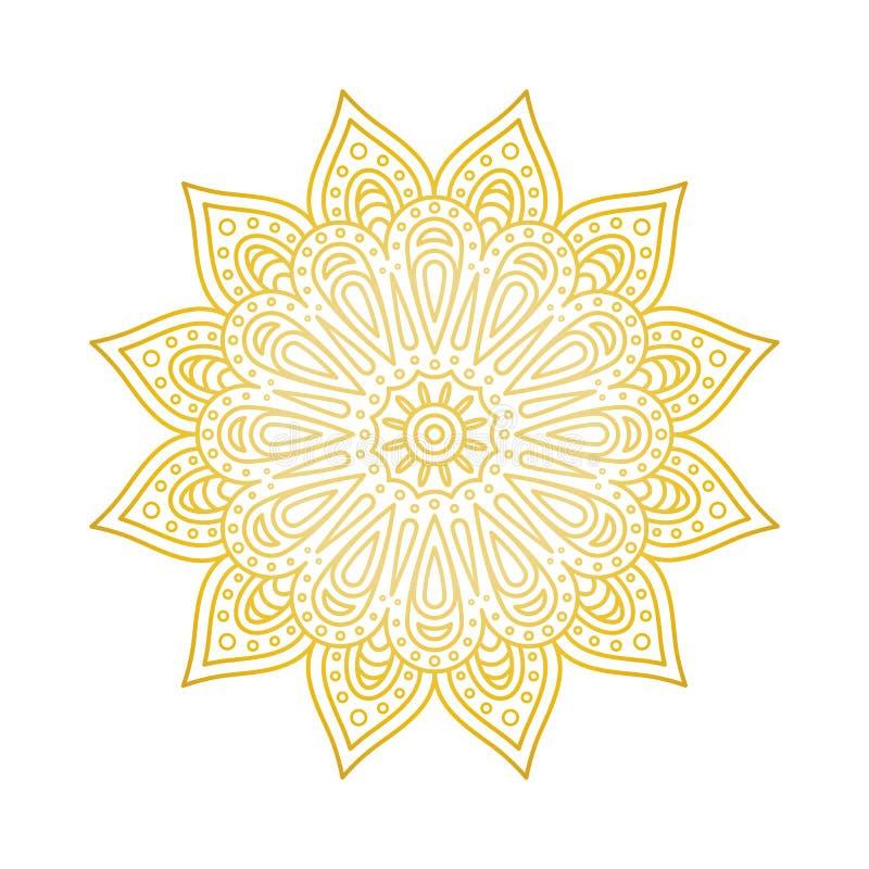 Mandala Pattern Mandala floral del oro Ornamento redondo decorativo Islam, árabe, indio, marroquí, adornos del otomano PA del lib libre illustration