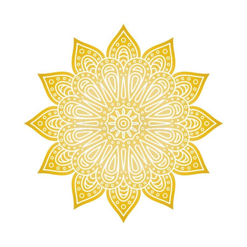 Mandala Pattern Guld- blom- mandala rund dekorativ prydnad Islam arabiska, indier, moroccan, ottomanmotiv PA för färgläggningbok royaltyfri illustrationer