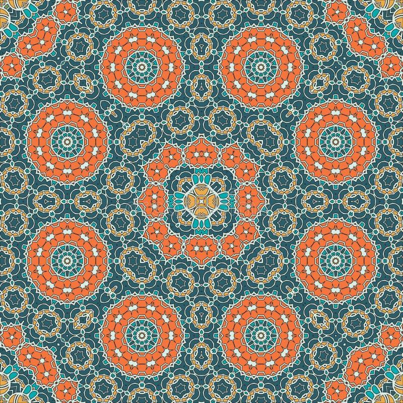 Mandala Pattern Seamless Background för att hälsa royaltyfri illustrationer