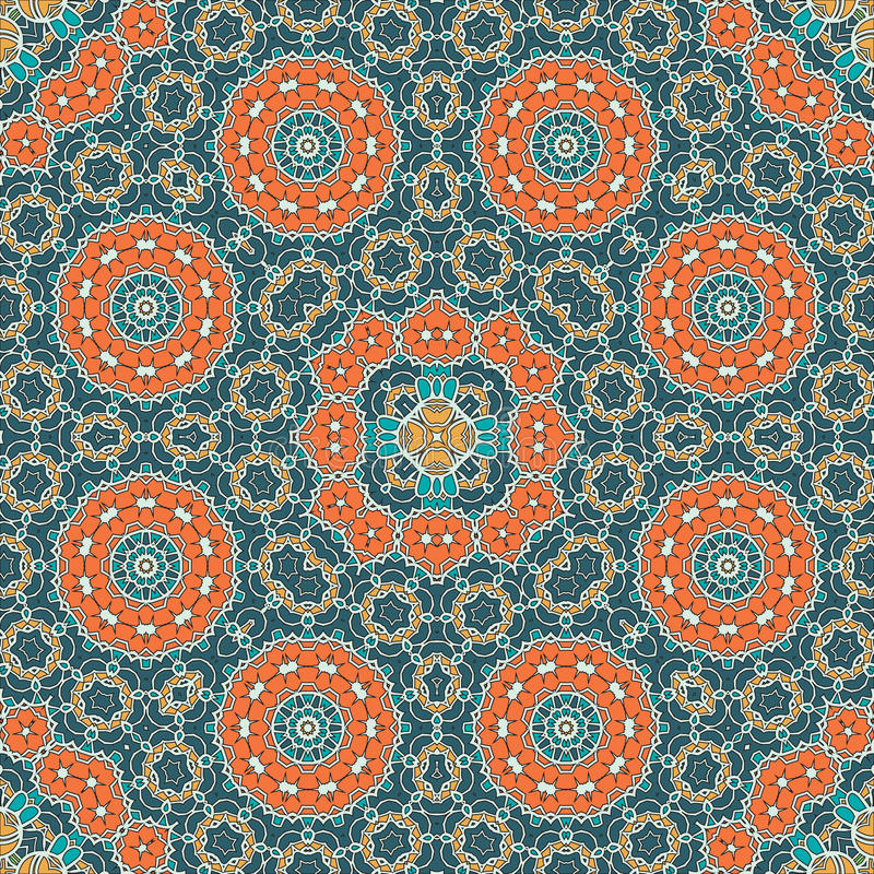 Mandala Pattern Seamless Background voor groet royalty-vrije illustratie