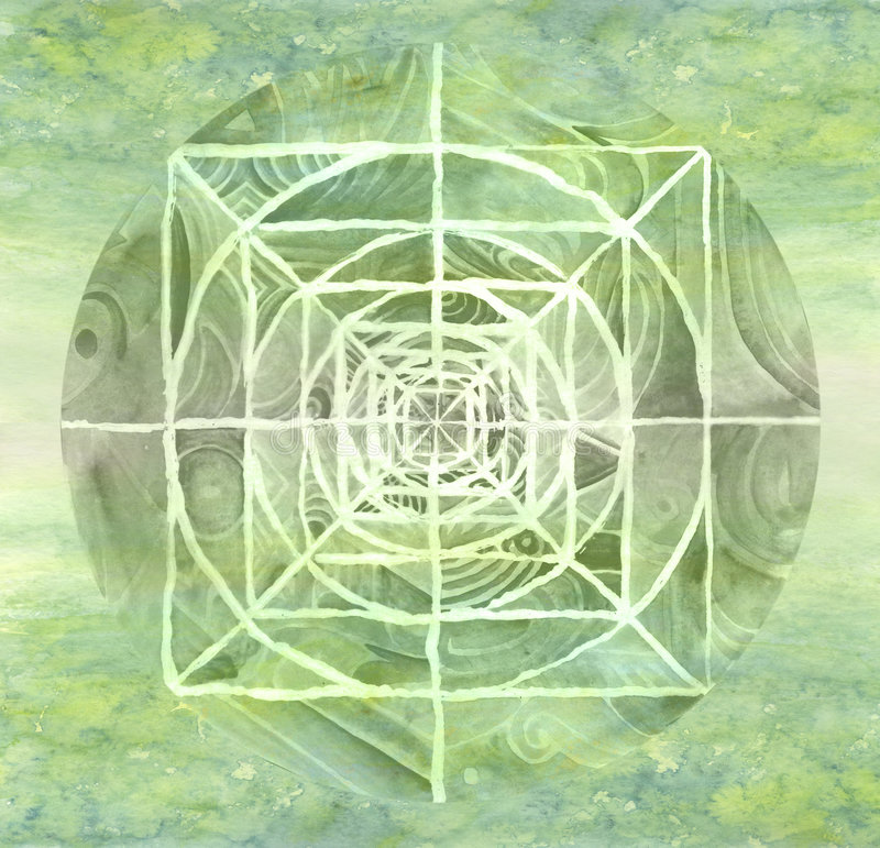 Mandala peint par vert illustration stock