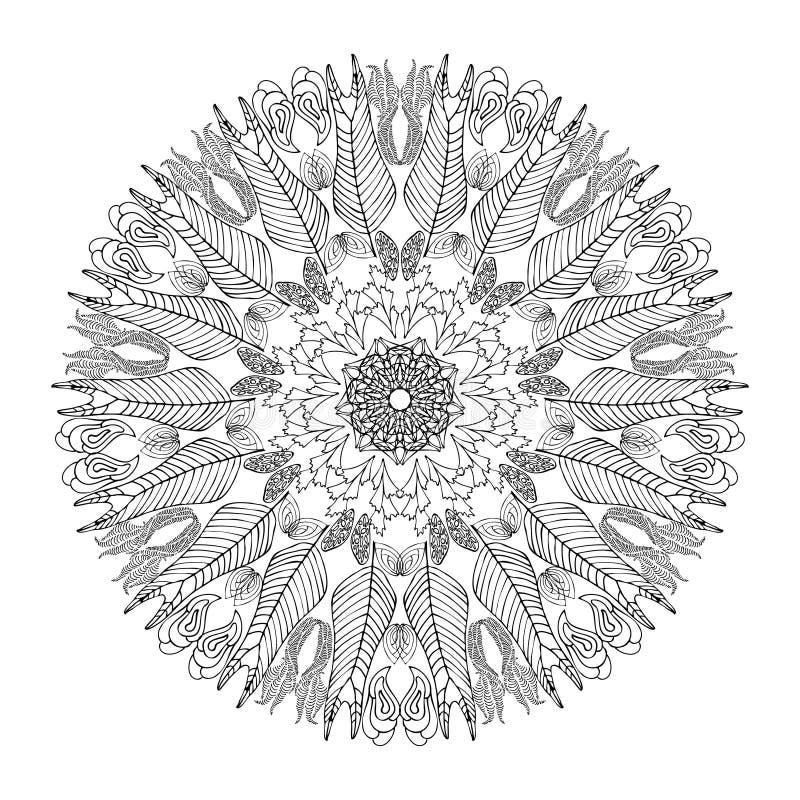 Mandala per la pagina del libro da colorare Ornamento rotondo decorativo dell'estratto Arte Antistress per gli adulti Elemento di illustrazione vettoriale