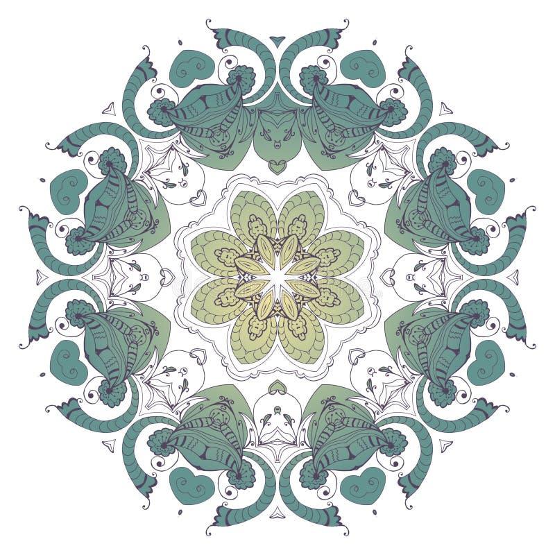 mandala Person som tillhör en etnisk minoritet snör åt den runda dekorativa modellen stock illustrationer