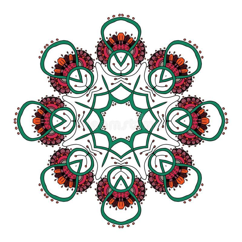 mandala Person som tillhör en etnisk minoritet snör åt den runda dekorativa modellen vektor illustrationer