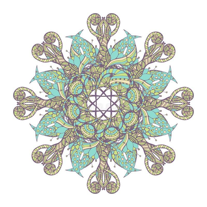 mandala Person som tillhör en etnisk minoritet snör åt den runda dekorativa modellen Härlig hand dragen blomma stock illustrationer