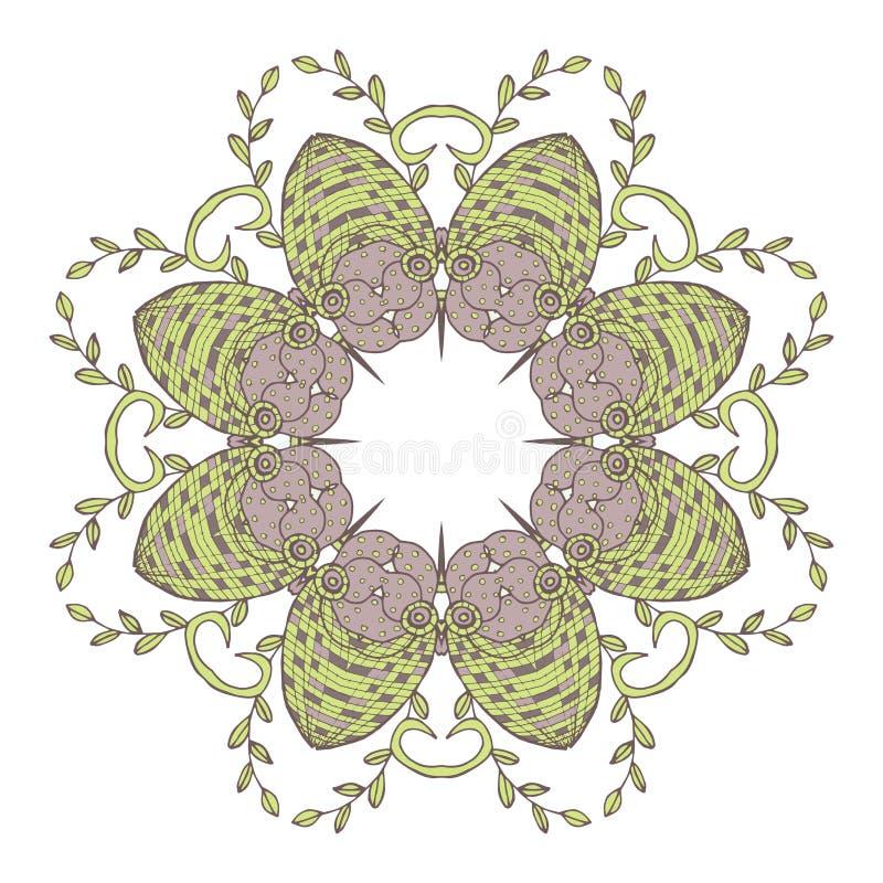 mandala Person som tillhör en etnisk minoritet snör åt den runda dekorativa modellen Härlig hand dragen blomma vektor illustrationer
