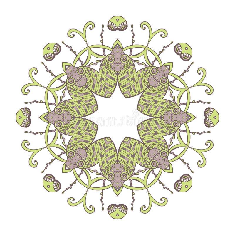mandala Person som tillhör en etnisk minoritet snör åt den runda dekorativa modellen Härlig hand dragen blomma royaltyfri illustrationer