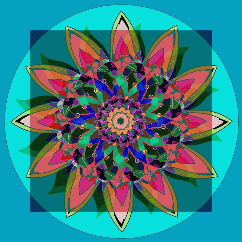 MANDALA SUNFLOWER. PLAIN LIGHT BLUE BACKGROUND. CENTRAL FLOWER IN GREEN, BLACK, BLUE, TURQUOISE, FUCHSIA.CIRCLE IN AQUAMARINE. royalty free stock photos