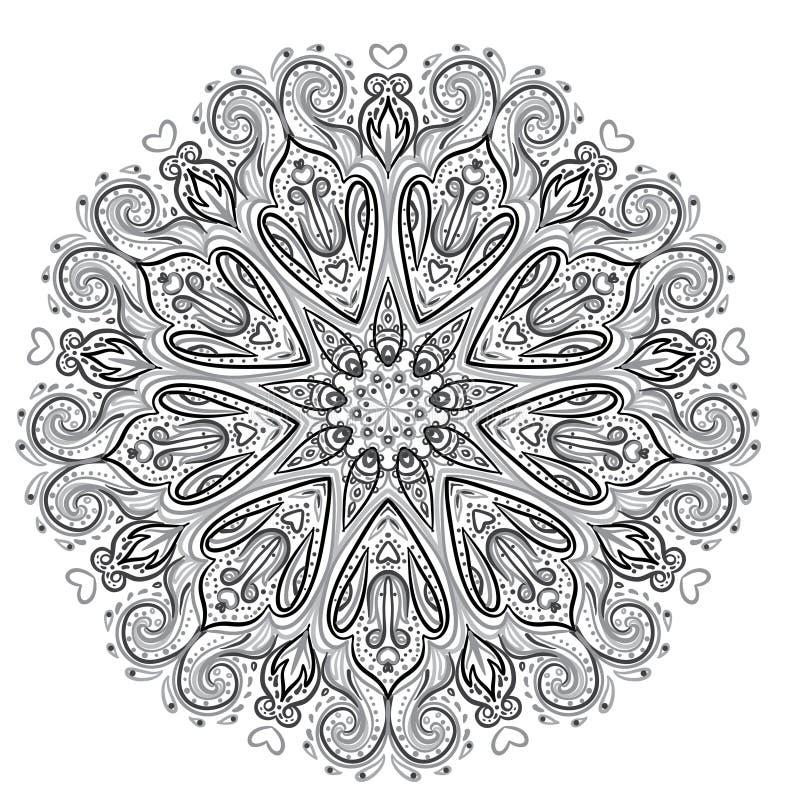 mandala Pięknego rocznika round wzór abstrakcjonistyczny tło rysująca ręka Dekoracyjny retro sztandar odizolowywający Zaproszenie ilustracja wektor