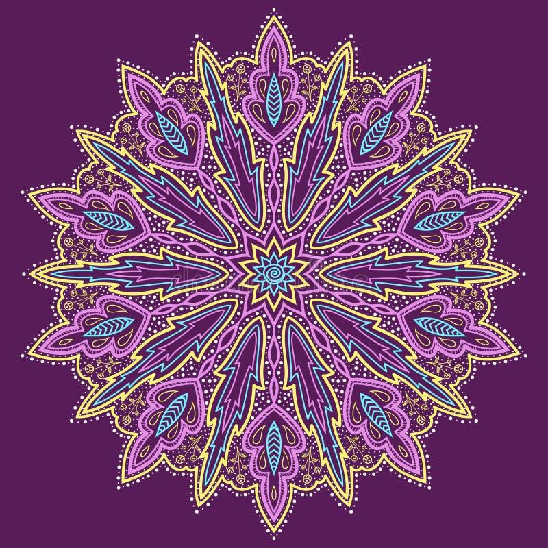 Mandala. Piękny pociągany ręcznie kwiat. Fiołkowy tło. ilustracja wektor